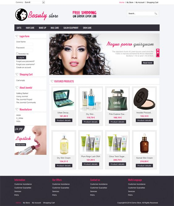 This VirtueMart template comes with a clean design, cross-browser compatibility, a homepage featured content slider, a back to top button, custom product catalog pages, SEO-friendly code, speed optimization, PSD files, and more.