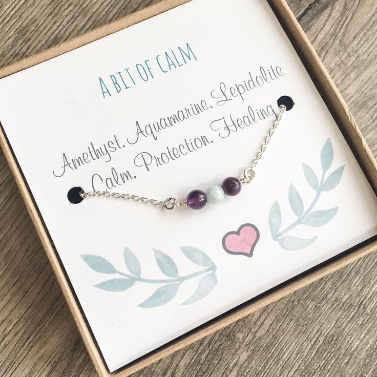 Calming Bracelet, Meaning Bracelet, Gemstones for Calm, Peace, Healing, Protection, Sentiment Bracelet with Amethyst, Aquamarine, Lepidolite by DaintyRocksUK on Etsy https://www.etsy.com/listing/263763011/calming-bracelet-meaning-bracelet