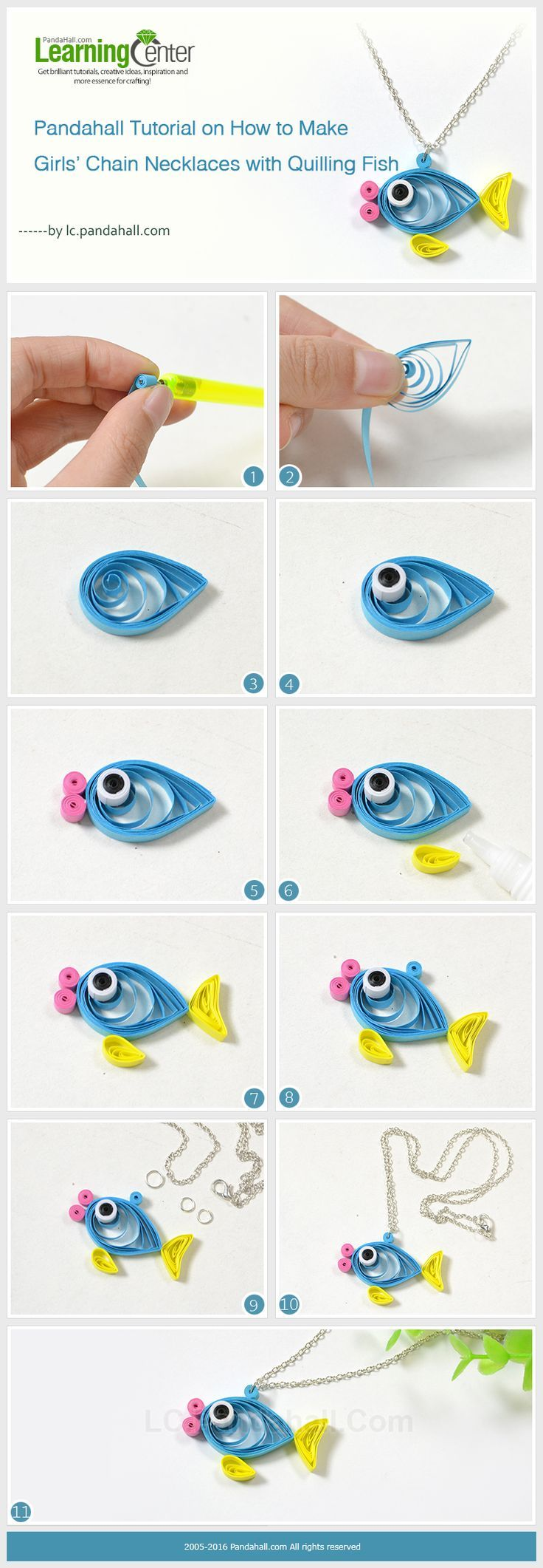 Pandahall Tutorial on How to Make Girls' Chain Necklaces with Quilling Fish