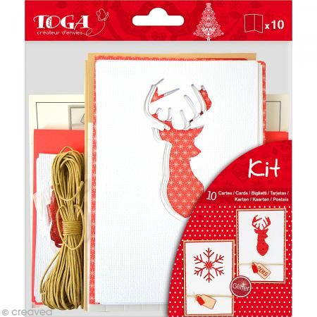 Set tarjetería - Navidad escandinava - Kit 10 tarjetas de felicitación - Fotografía n°1