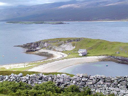 """The north coast of Scotland is deeply indented by a series of sea lochs and river estuaries. The Kyle of Durness and the Kyle of Tongue are two, but the widest and longest is Loch Eriboll. The name comes from the Norse """"Eyrr-bol"""", or """"Farm on a beach""""."""