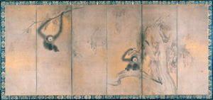 竹林猿猴図屏風