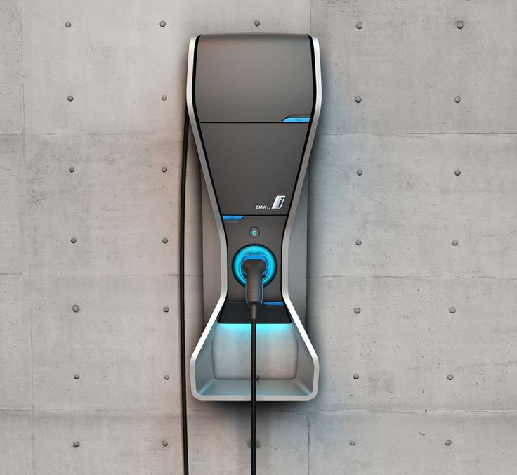 BMW i Wallbox Charger  Elements: seams, embedded lit indicators, connector-surround indicator.