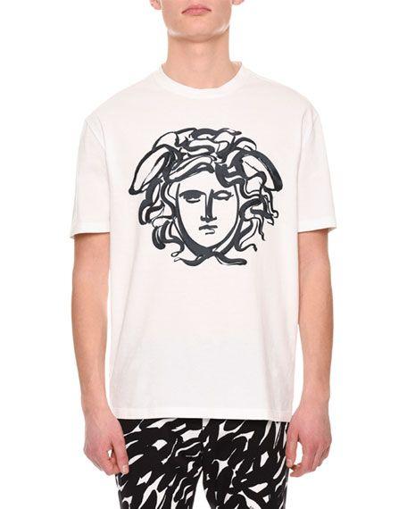 Versace Paint Effect Medusa Jersey T Shirt In White Modesens T Shirt Painting White Cotton T Shirts Versace T Shirt