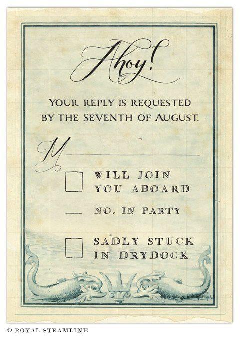 Pirate wedding invitations - Royal Steamline