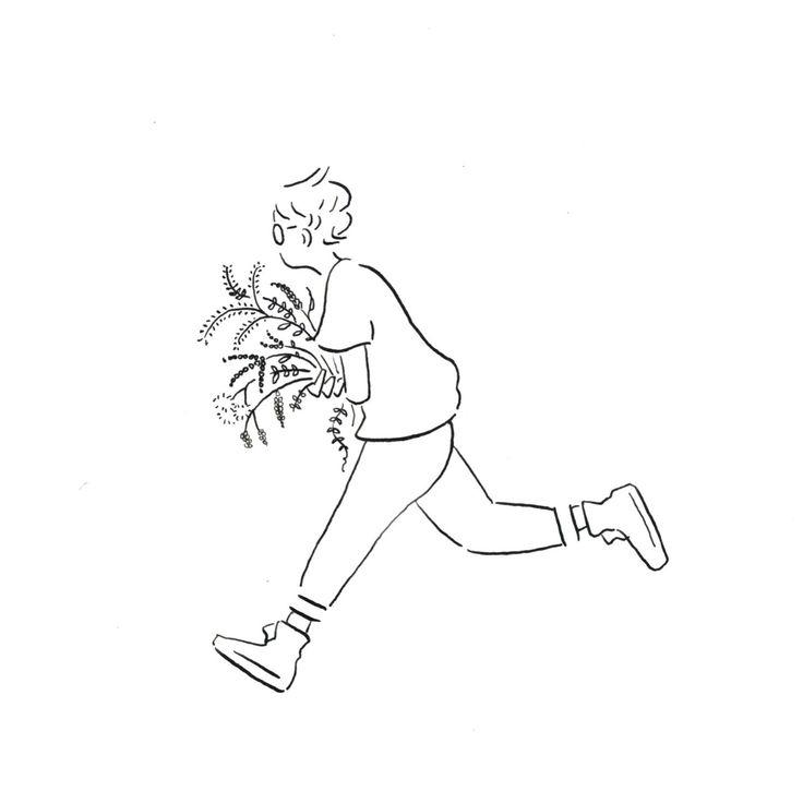Obatasaki - Boy Running, Simple Design Logo