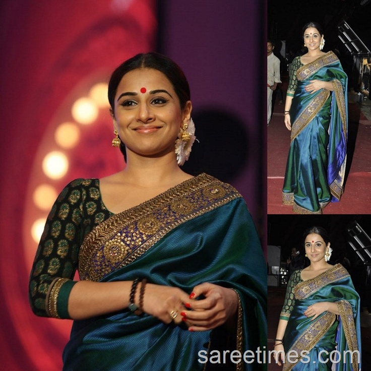 actress vidya balan in a beautiful green saree and brocade blouse