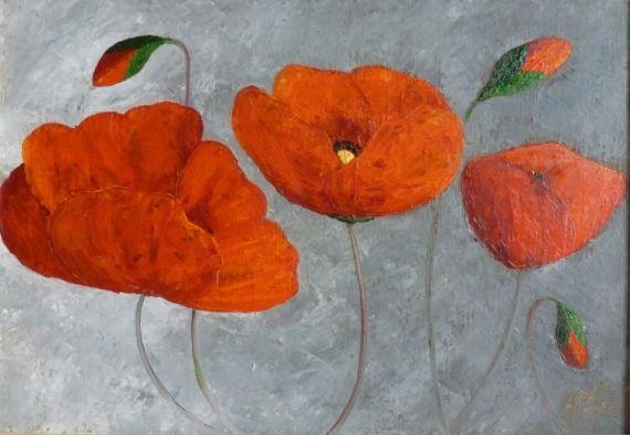 Tableau peinture peinture coquelicots peinture au couteau fleurs peinture a l 39 huile - Peinture au couteau huile ...