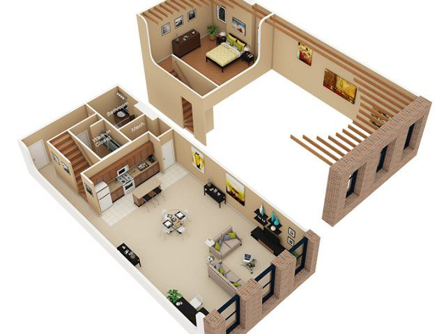 Sleep loft floor plan of property cobbler square loft for Studio apartment design 3d