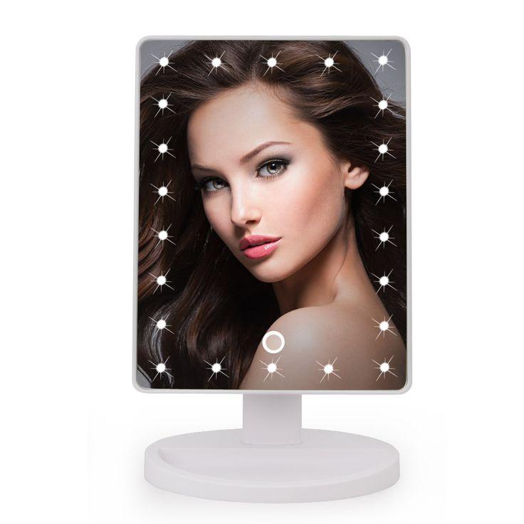 22 LED Tactile Écran Miroir De Maquillage Professionnel Miroir de Courtoisie Lumières Santé Beauté Réglable Comptoir 180 Tournant
