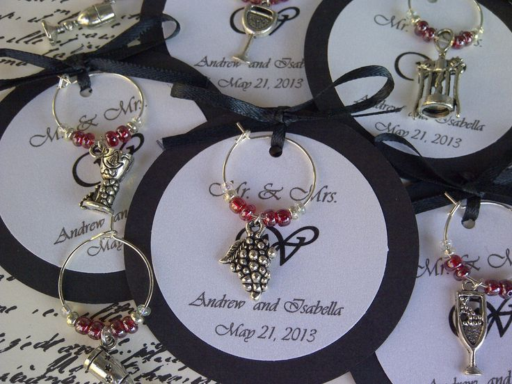 personalized rehearsal dinner favors | Themed Wine Charm Favors - Weddings, Bridal Shower, Rehearsal Dinner ...