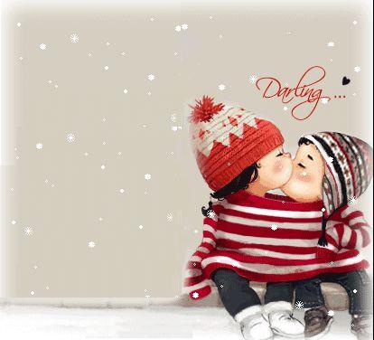Анимация Двое влюбленных деток под снегом (Darling / Дорогой)
