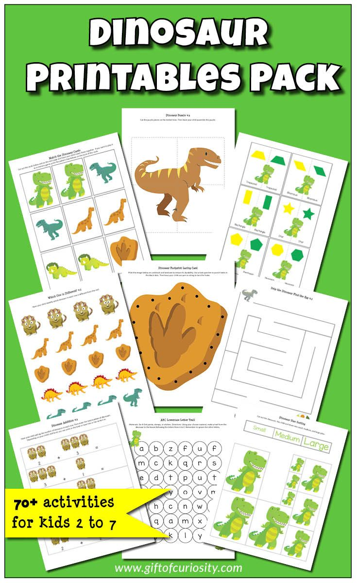 Dinosaur Printables Pack with 70+ dinosaur learning activities for kids ages 2-7 || Gift of Curiosity