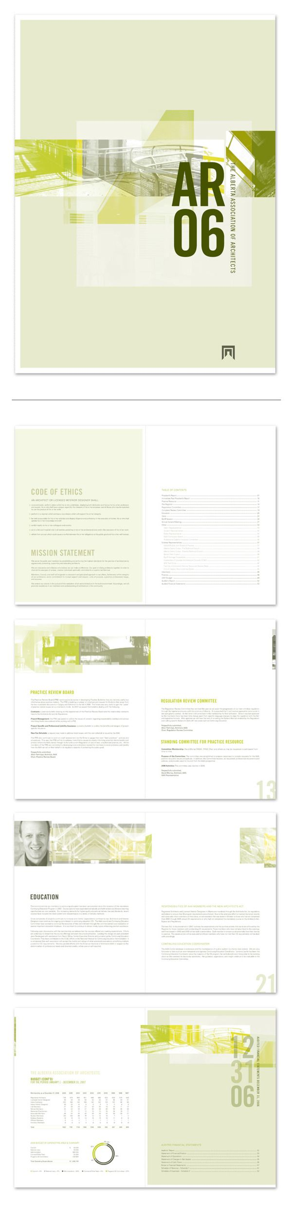 #AB #Association #Architects #Annual #Report #Layout #Design #Green #Vert #Cover #Mise #en #Page