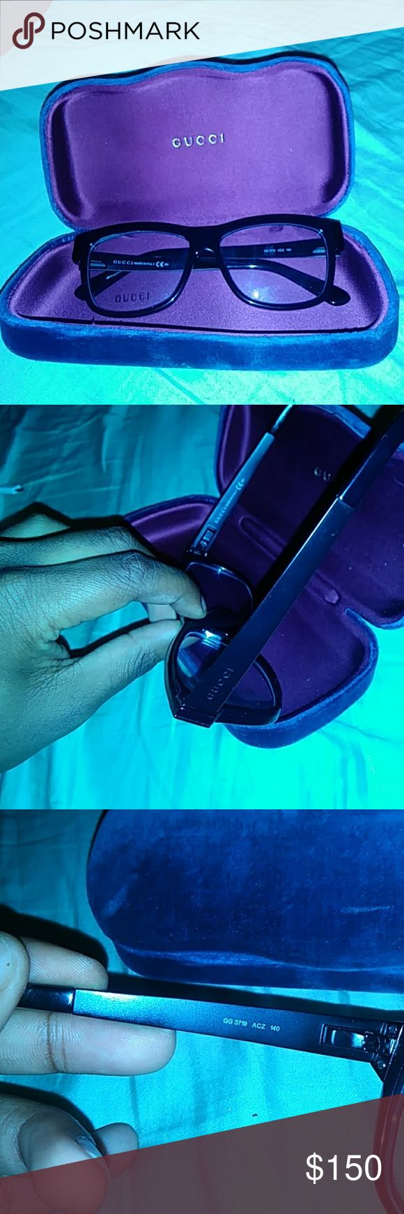 Gucci Eyeglasses Authentic Gucci Eyeglasses with Blue Velvet Gucci glasses case! Asking price is negotiable. Gucci Accessories Glasses