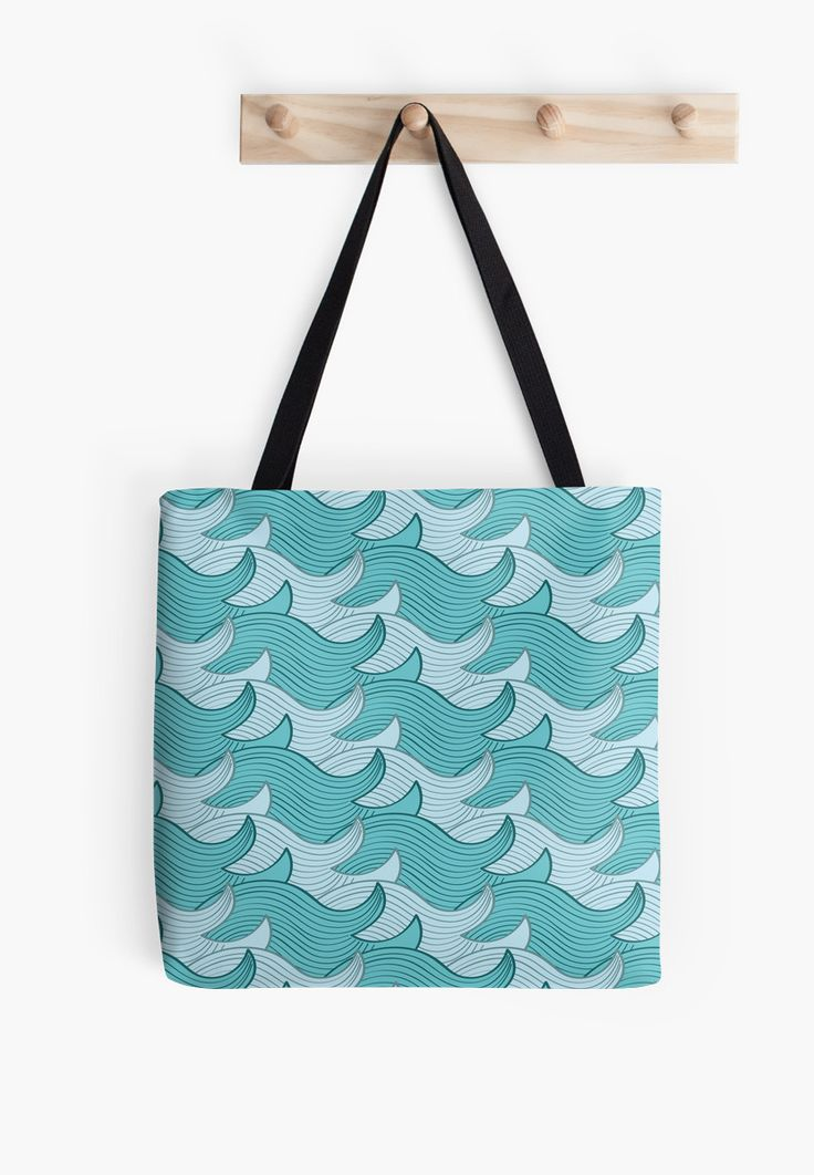 California Surf Wave Pattern Illustration by Gordon White | California Surf Medium Tote Bag Hanging from Wall Available @redbubble --------------------------- #redbubble #stickers #california #losangeles #la #surf #wave #cute #adorable #pattern #totebag #bags