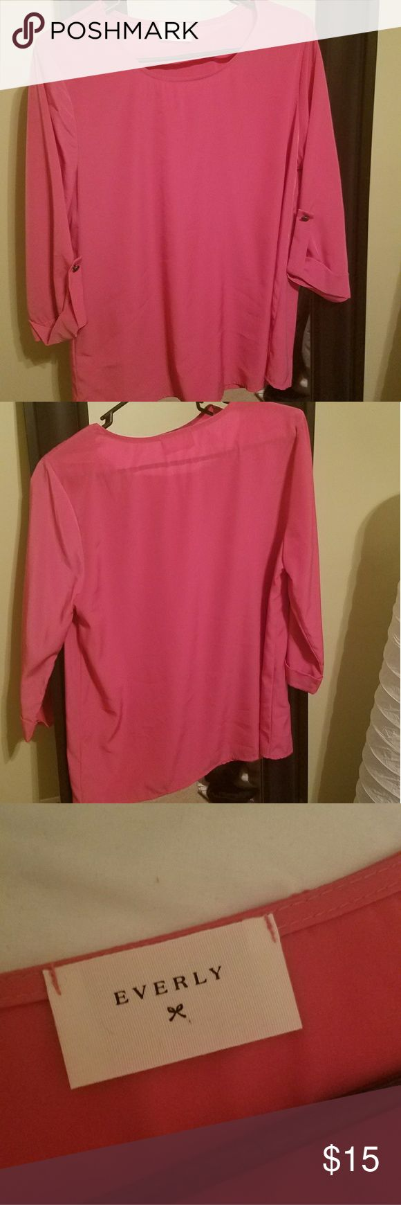 Hot pink three-quarter blouse Hot pink blouse. New, never worn. Everly Tops Blouses