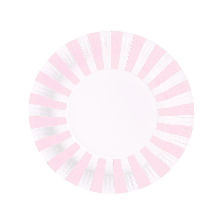 Χάρτινα πιάτα για πάρτυ ριγέ ροζ