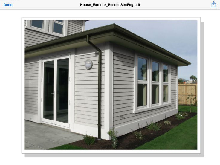 Exterior Colour Scheme Option 1: Resene Sea Fog weatherboards Resene Black White windows