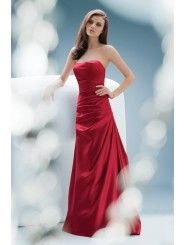 Satin Sculpted Strapless Draped Fitted Bodice Floor-Length Bridesmaid Dress