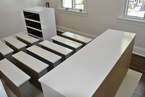 How to paint Ikea/Laminate furniture. My 4 x 2 Expedit shelves are gonna get a makeover. Black brown colour might be hard to cover up...