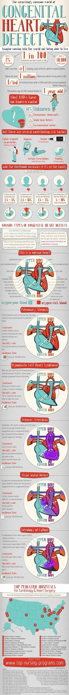 ☤ MD ☞☆☆☆ Congenital Heart Defects Statistics : This infographic depicts the sad truth about children coming to life with heart defect. The most shocking fact is that about 88% of CHD occurrences show no lead to the cause while environmental and genetic factors account for 12% of incidents. with (40,000 babies in the U.S. per year).