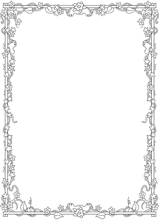 Floral Border Coloring Pages Coloring Pages Adult Coloring