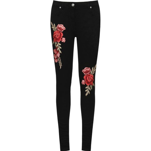 WearAll Floral Embroidered Skinny Jeans (£33) ❤ liked on Polyvore featuring jeans, pants, bottoms, black, slim cut jeans, floral jeans, zipper jeans, embellish jeans and slim fit skinny jeans