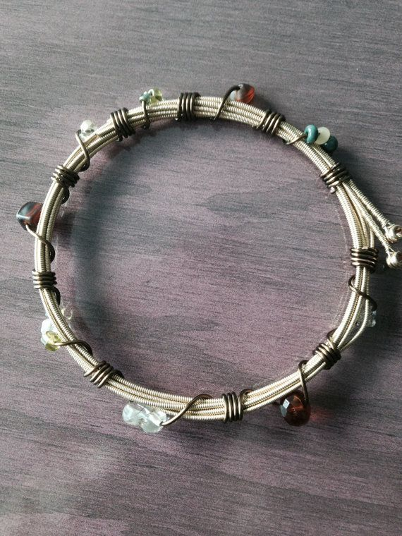 Wire Wrapped Guitar String Bangle Bracelet, Rock and Roll Jewelry, Guitar String Jewelry, Boho Jewelry on Etsy, $15.00