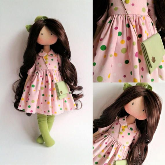 Handmade doll.Art doll.Textile doll.Rag doll.Tilda doll.Tissue