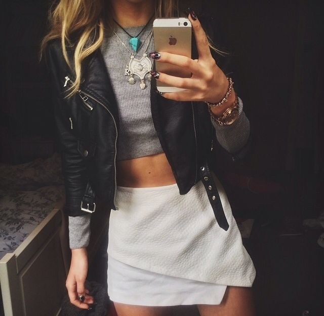 crop top with leather and high waisted bottoms. I actually have a grey and black cotton crop top.