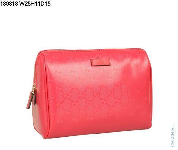 Небольшая сумочка-клатч Gucci красного цвета из гладкой кожи