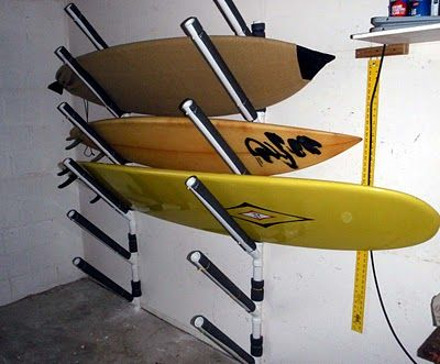 Superb Wall Mounted DIY Surfboard Rack For Garage To Save Some Space And Keep  Everything Accessible And Organized.