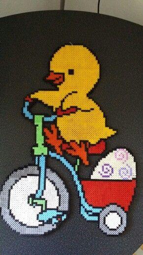 Made by me #easter #hama #perler #pearlbeads #creative #hobby #animal #duck #creation #eeg #bike #red