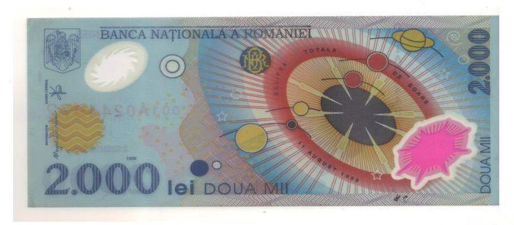 Romania 2000 Lei 1999 Commemorative Banknote Polymer Circulated.