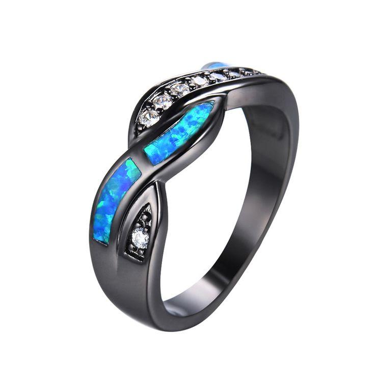 2016 Yeni Moda Mavi Yangın Opal CZ Elmas Çapraz Yüzük Kadınlar/Erkekler için Vintage Siyah Altın Dolgulu Zirkon Yüzük Düğün Takı RB0850