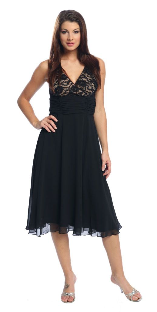 Black Graduation Dress Formal Empire Waist Dress Black Prom Dress $122.99