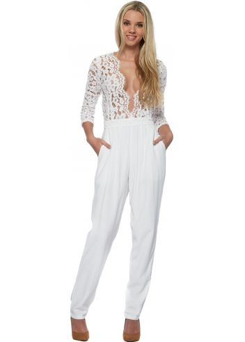 Miss Milne Heart Of Glass White Jumpsuit With Lace Mesh Bodice