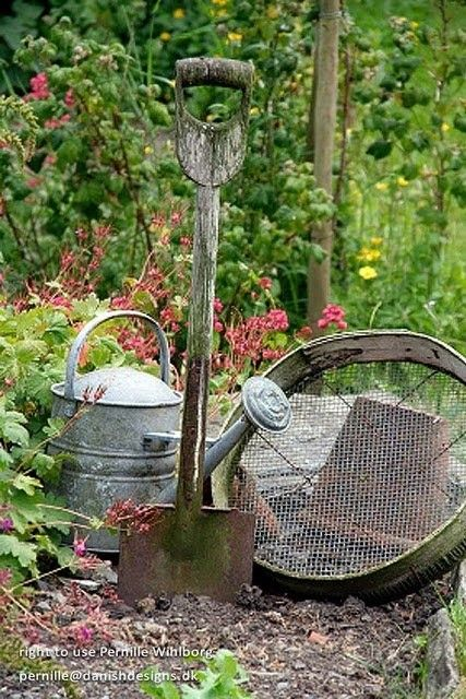 Pinned for image, not for link.  Old garden tools.