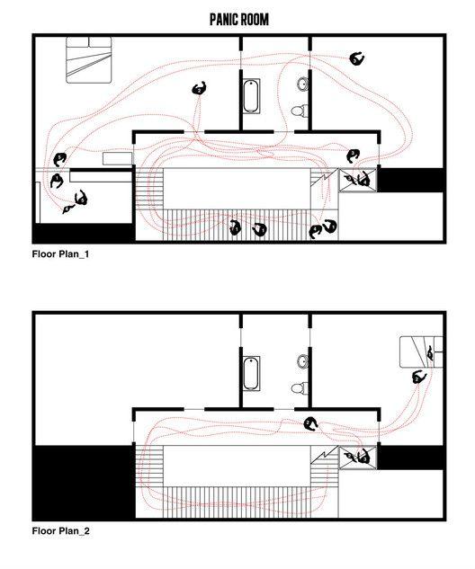 Cinema e Arquitetura: As plantas dos grandes clássicos do Cinema, Quarto do Pânico, questão 1.  Imagem Cortesia de Interiors Journal