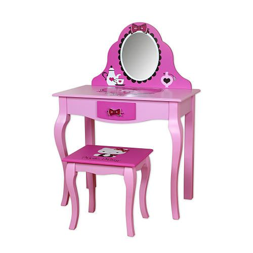 "Hello Kitty Vanity & Mirror with Stool - Najarian Furniture - Toys ""R"" Us  $150"