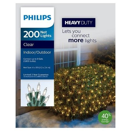Philips 200ct 4' x 8' Heavy Duty Clear Net Lights : Target