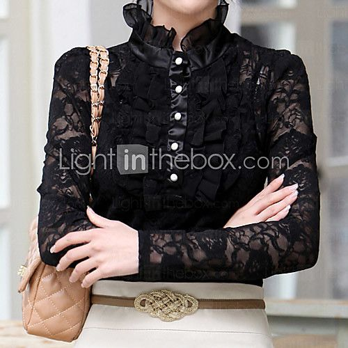 Women's Ruff Collar Shirt with Lace Sleeve 2017 - $537.21