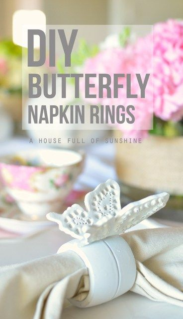 Facebook Twitter Google+ Pinterest Email I have a sweet little spring DIY for you today – these pretty filigree butterfly napkin rings. Perfect for decorating the table for a girl's tea party, bridal shower, or spring luncheon. Aren't they sweet?! Best of all, they're super easy to make. You'll need: – Wooden napkin rings (I... Read more