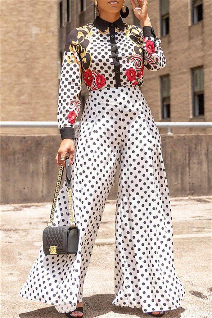 a25cf38661 $27.99 Polka Dot Wide Leg Pants #pants #wideleg #polkadot #black #white  #plussize #womenclothing #womenfashion #freeshipping