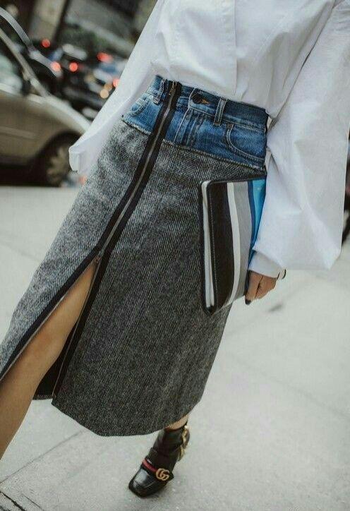 0d842d4666a2 Креативная юбка из джинсов / Переделка джинсов / ВТОРАЯ УЛИЦА | юбки ...
