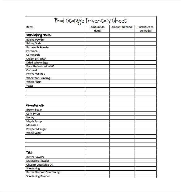 Best Food Inventory Template Images On