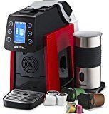 Gourmia GCM5000 One Touch K-Cup & Espresso Multi Capsule Coffee Machine, Compatible With Nespresso and K-Cup & More, Built In Milk Frother, Adjustable Temperature & Size, Digital Display - Red