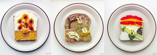 L'artiste norvégienne Ida Skivenes a eu sensiblement la même. Ida est surtout branchée toasts, et elle reproduit les peintures d'Edouard Munch, Salvador Dali ou Vincent Van Gogh comme tu ouvres un opercule de yaourt. Et l'artiste a tout compris, puisqu'elle finit toujours par manger ses créations pour ne pas gâcher la nourriture. Du moins c'est ce qu'elle raconte.