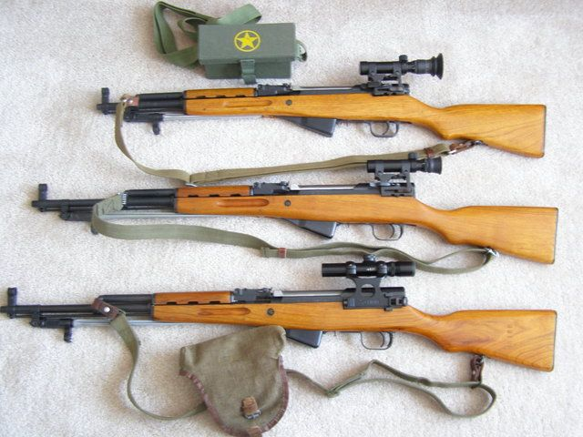 """ Triple Norinco… 3 scoped Norinco SKS rifles. These are actually factory models meant for sale in the U.S. The importer of the scoped Norincos was Navy Arms. The short one is the SKS Paratrooper,..."
